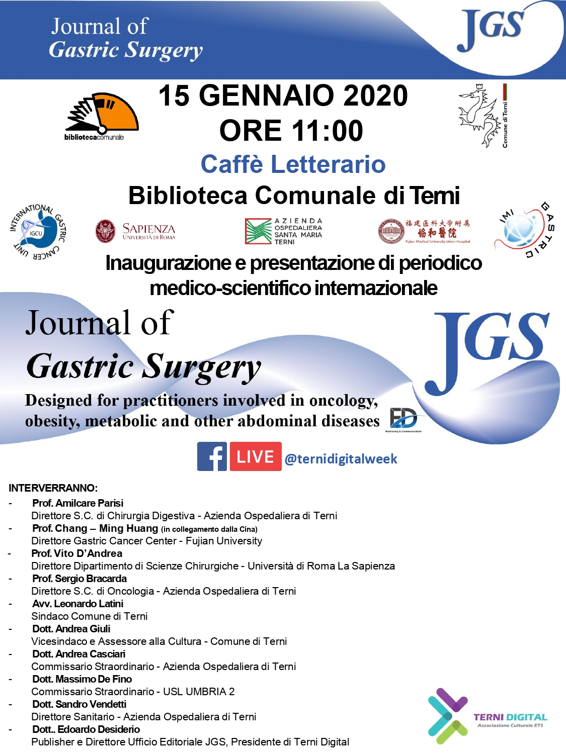 Presentazione del Journal of Gastric Surgery, l'innovativa rivista scientifica internazionale con sede a Terni